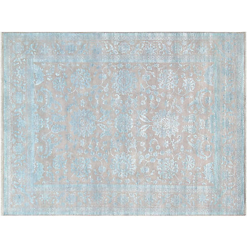 "8'11""x12' Transitiona Hand-Knotted Rug, Blue/Gray"