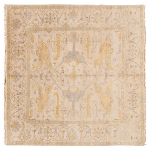 9'x9' Indo Oushak Rug, Light Blue/Ivory