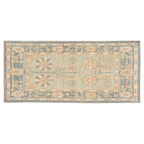 "2'10""x6'4"" Persian Oushak Runner, Green"