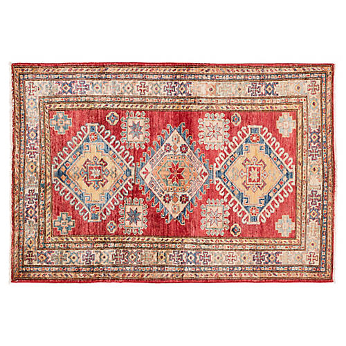 "3'5""x5' Kazak Rug, Red"