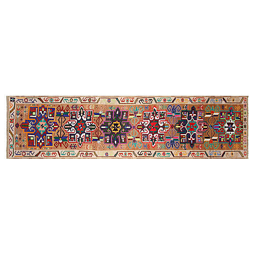 """3'3""""x12'9"""" Turkish Hand-Knotted Runner, Sepia"""