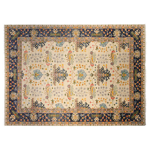10'x14' Oushak Hand-Knotted Rug, Ivory/Navy