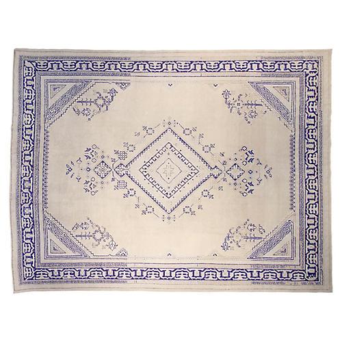 "10'x13'1"" Hampton Hand-Knotted Rug, Ivory/Blue"