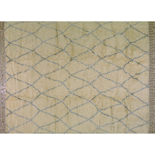 Moroccan Hand-Knotted Rug, Ivory/Silver