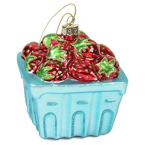 Strawberry Basket Ornament, Red/Multi