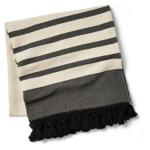 Kata Striped Beach Blanket, Black