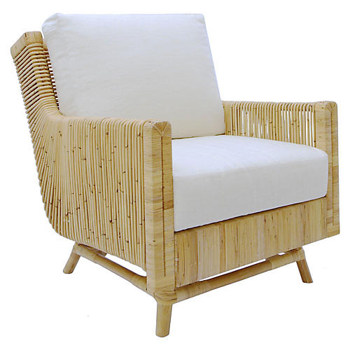 Calistoga Accent Chair, White Linen