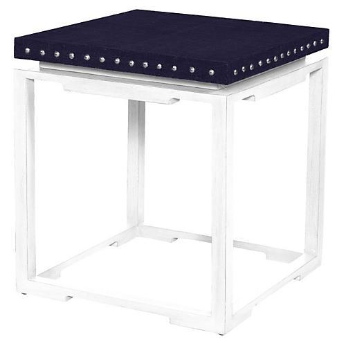 Shanghai Side Table, Navy/White
