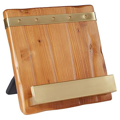 Lena Cookbook Holder, Natural/Brass
