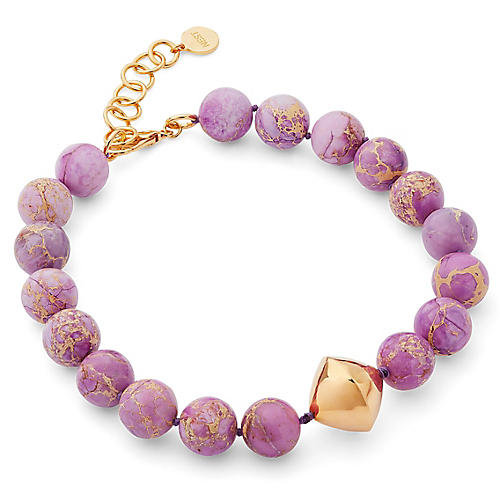 Jasper Bi-Cone Necklace, Purple