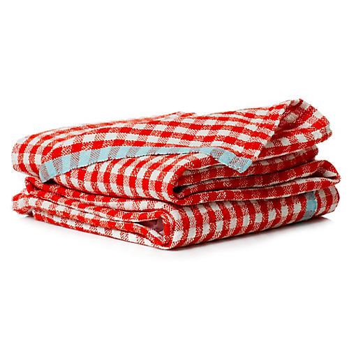 S/2 Macero Tea Towels, Dark Orange