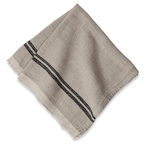 S/4 Wagner Dinner Napkins, Natural/Black