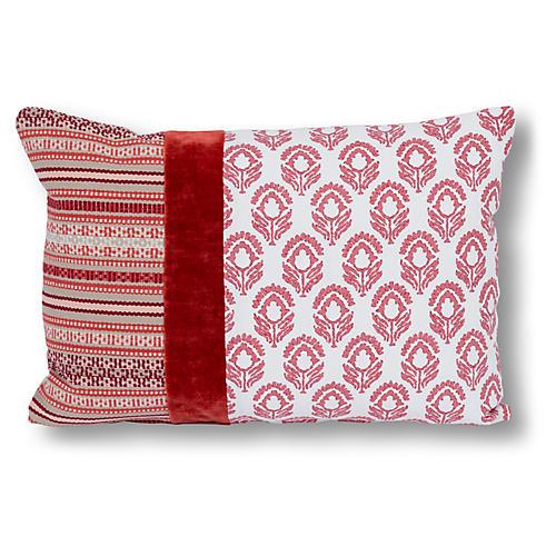 Bella 14x20 Lumbar Pillow, Red Jasmine