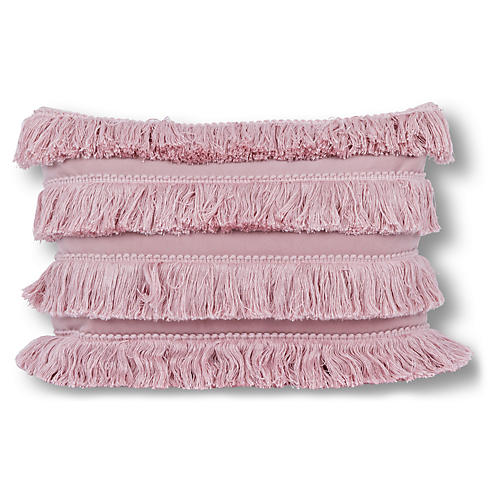 Fringe 14x20 Lumbar Pillow, Blush