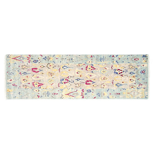 "2'7""x8' Michelle Hand-Knotted Rug, Aqua"
