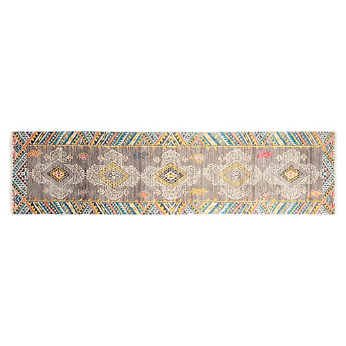 "2'7""x10' Adventure Hand-Knotted Runner, Gray"
