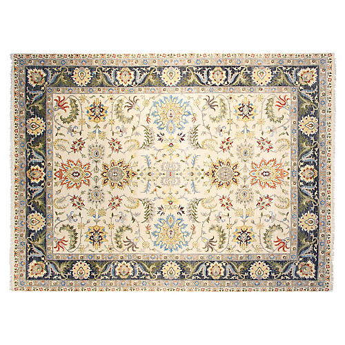 9'x12' Oushak Hand-Knotted Rug, Navy/Ivory