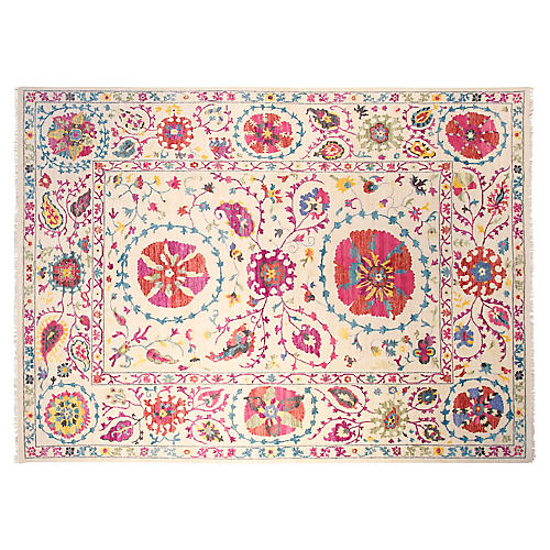 9'x12' Suzani Hand-Knotted Rug, Ivory