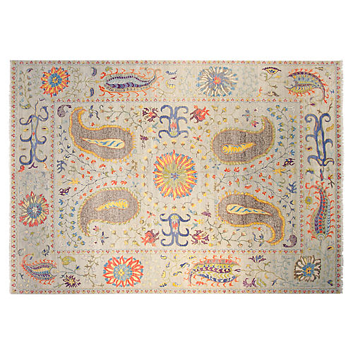 10'x14' Suzani Hand-Knotted Rug, Silver