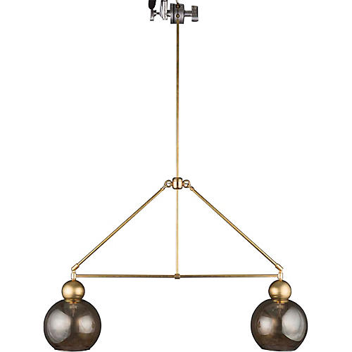 Double-Globe Chandelier, Raw Brass/Smoke
