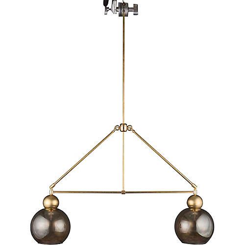 Double-Globe Chandelier, Raw Brass/Smoke
