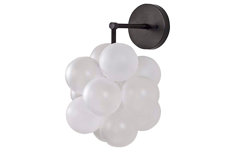 Bubble Sconce, Frosted/Black
