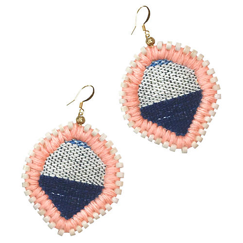Lolo Stitch Earrings, Indigo/Peach