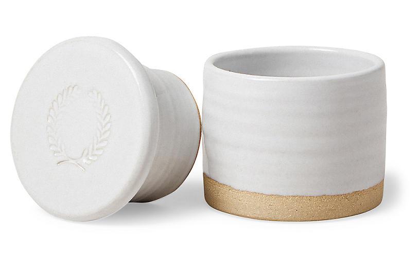 Silo Butter Container, White/Tan