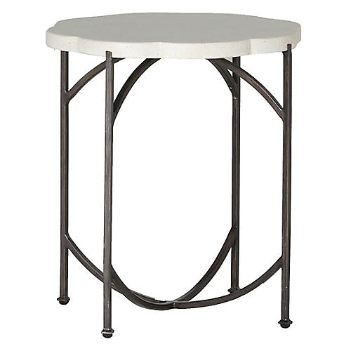 Gillian Outdoor Side Table, Gray/White