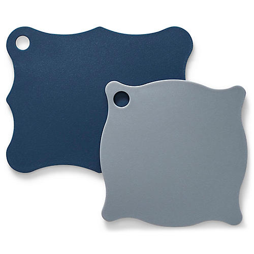 Asst. of 2 Florence Cutting Board Set, Indigo/Gray