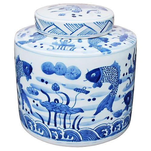 "8"" Feeding Fish Jar, Blue/White"