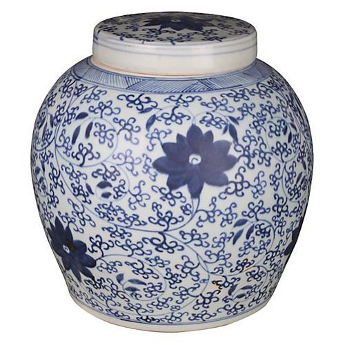 """11"""" Blooming Vine Jar, Blue/White"""