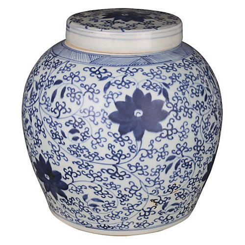 "11"" Blooming Vine Jar, Blue/White"