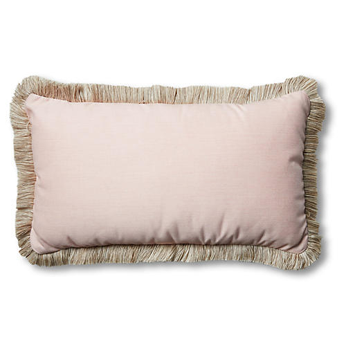 Della 24x14 Outdoor Lumbar Pillow, Blush Pink