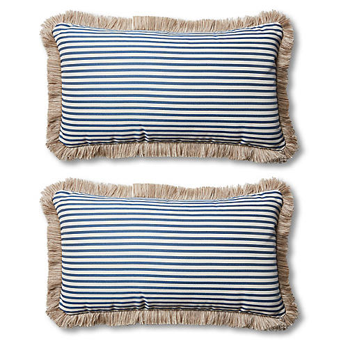 S/2 Lyra Outdoor Lumbar Pillows, Blue/Beige