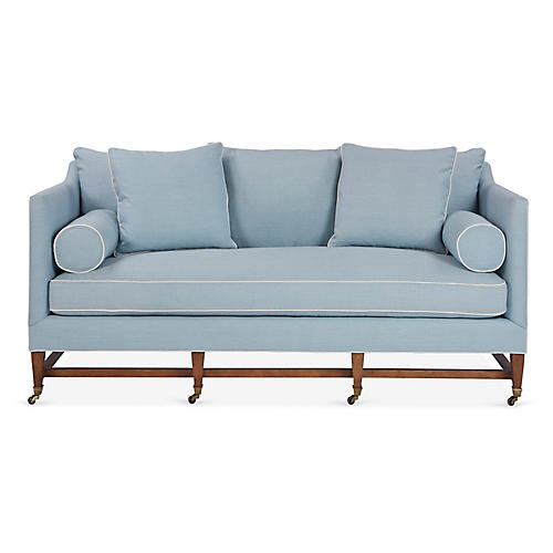 Brentwood Sofa, Light Blue Linen