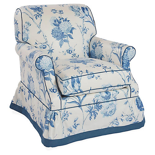 San Remo Club Chair, Blue Floral Linen