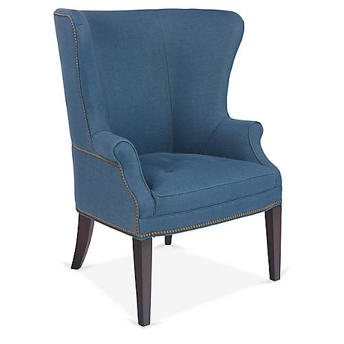 Willoughby Wingback Chair, Blue Linen