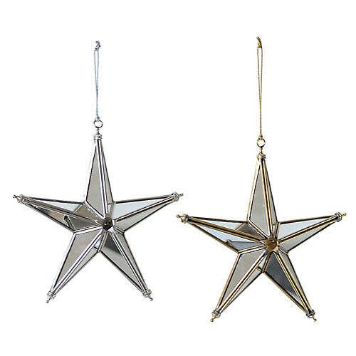 Asst. of 2 Mirrored Star Ornaments, Gold/Silver