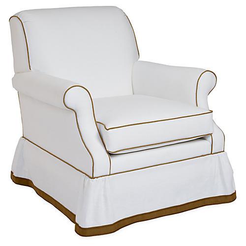 San Remo Club Chair, Ivory/Tan Linen