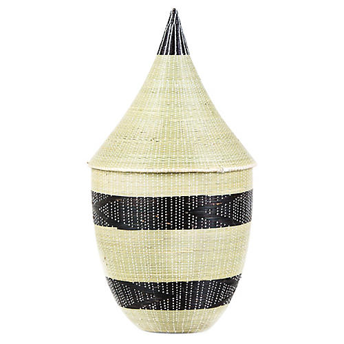 "13"" Huye Cathedral Basket, Natural/Black"