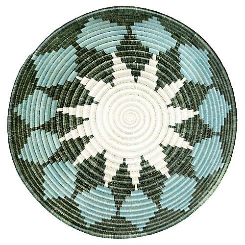 """12"""" Korren Luanda Basket, Silver-Blue/Green"""