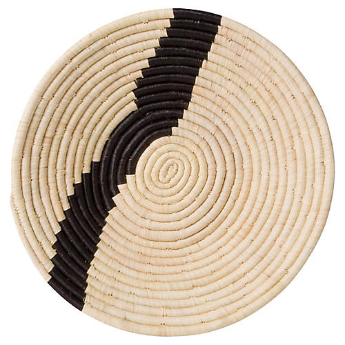 "12"" Dolow Stripe Basket, Natural/Black"