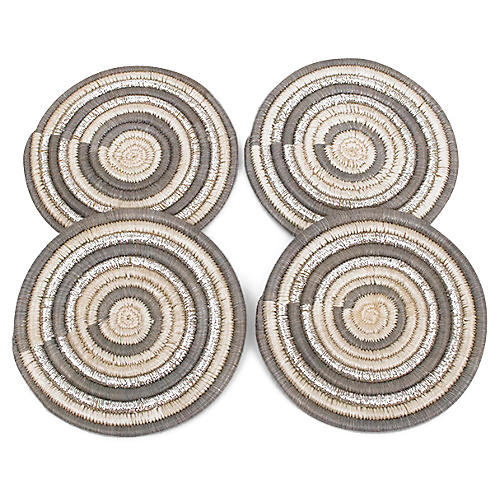 S/4 Mirage Coasters, Metallic Silver/Gray