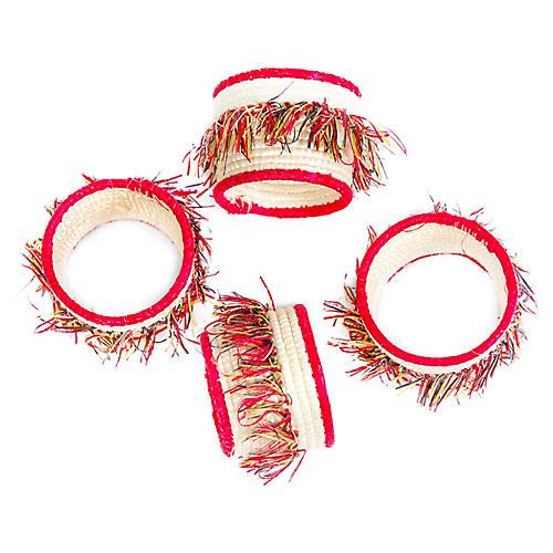S/4 Fringe Napkin Rings, Hibiscus/Multi