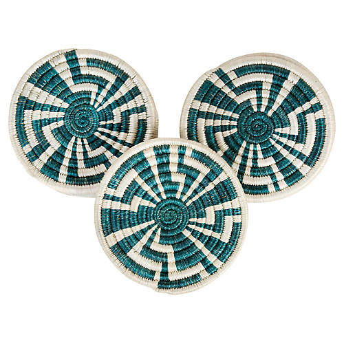 S/6 Unity Coasters, Teal/White