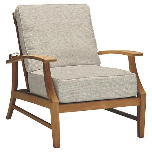Croquet Reclining Club Chair, Dove Sunbrella