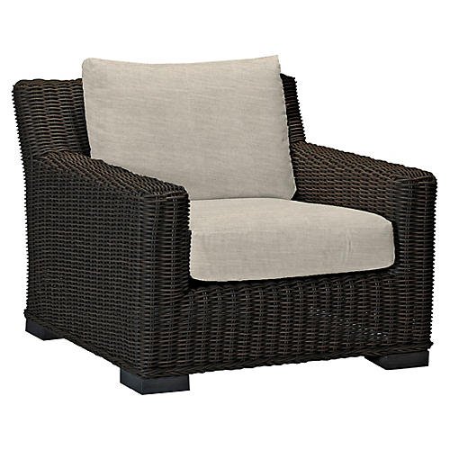 Rustic Club Chair, Dove Sunbrella