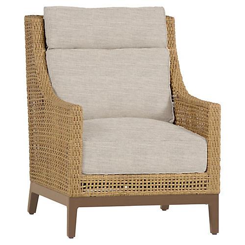 Peninsula Club Chair, Dove Sunbrella
