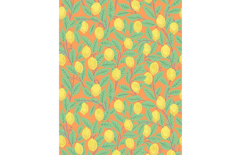 Lemons Wallpaper, Orange